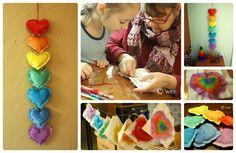 Valentine Craft: Puffy Hearts Wall Hanging » Wee Folk Art