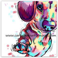 Dachshunds art print by CartoonYourMemories on Etsy https://www.etsy.com/listing/194806544/dachshunds-art-print