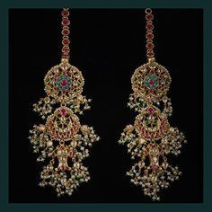 Bridal Jewelry Traditional chandbali earrings embellished with uncut diamonds, turquoise, rubies and pearls. Pakistani Jewelry, Indian Wedding Jewelry, Bridal Jewelry, Gold Jewelry, Antique Jewelry, Jewelry Rings, Stylish Jewelry, Fashion Jewelry, Gold Fashion