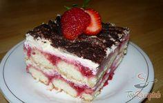 Frissítő epres tiramisu fehér csokoládéval | TopReceptek.hu