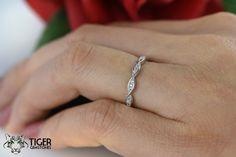Art Deco Swirl, Wedding Band, Stacking, Layering, Engagement Ring, Man Made Diamond Simulants, Bridal Ring, Promise Ring, Sterling Silver by TigerGemstones on Etsy https://www.etsy.com/listing/247789578/art-deco-swirl-wedding-band-stacking