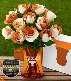 FTD® proudly presents the University of Texas® Longhorns® Rose Bouquet. Show your colors and pride with this unique rose bouquet celebrating the spirit of a university that rises to every challenge! This gift is a wonderful way to celebrate birthdays, anniversaries, homecomings, graduations, and any of the accomplishments that students and alumni achieve throughout their lives.