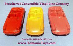 ** TOM'S TOY & RADIO WORLD TOMANIA **: VINYL-LINE GERMANY Pontiac Convertible, Porsche 911 Cabriolet, Police Radio, Mercedes 190, Oldsmobile Toronado, Big Tractors, Porsche Carrera, Tin Toys, Volkswagen