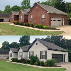 Painted Brick Homes, Painted Brick Ranch, Painted Brick Exteriors, Home Exterior Makeover, Exterior Remodel, House Paint Exterior, Exterior House Colors, Brick House Colors, Brick Ranch Houses