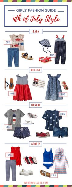 Patriotic kids' clothes to celebrate July 4th in style. We've rounded up some tasteful (no bedazzled flag tees here!) girls' fashion outfits that can be worn on Independence Day and beyond. For full info (and boys' outfits too!) visit us at whatmomslove.com
