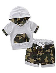 Boys Kids Sets Cotton Camouflage Boy Baby Summer Short Sleeve Clothing shorts Set