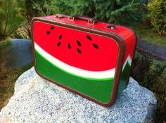 Vintage Cheney Watermelon Suitcase Hand Painted in Mexico Signed Luggage OOAK England Grunge Hippie Boho Weekender Overnight Travel Bag. Watermelon Purse, Watermelon Patch, Watermelon Crafts, Watermelon Painting, Watermelon Baby, Grunge Hippie, Hippie Boho, Painted Suitcase, National Watermelon Day