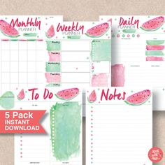 Get super-organized with this Watermelon Printable Planner Pack. A wonderful gift for someone special or just use them every day for home, kids, school, work or college. Fits most Filofax and binder sizes. Planner Pack   Planner Pack Products   Planner Pack Etsy   Printable Planner Packs   Printables   Printable Calendar   A5 Planner Printables.