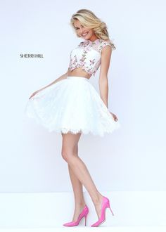 Sherri Hill Style 50478: Spring 2016 Collection, Delicate floral embroidery accents beautiful lace bodice. The matching lace party skirt features a scalloped border. Color: ivory/pink. Shop this style at www.oeevening.com.