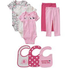Child of Mine Carters Newborn Girls' 8pc Creeper, Pant and Bib Set gray and pink elephants love!!!