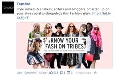 This is an example of a major clothing brand Topshop using Facebook to advertise. This is talking about fashion week and bloggers and it wants people to get involved.
