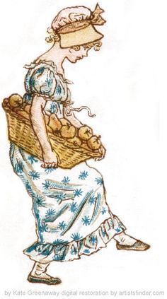 1885 Kate Greenaway girl with apples by Pearlmatic, via Flickr