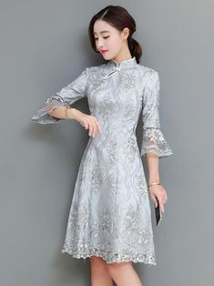 Gray Lace Flared Sleeves Short Cheongsam – uoozee