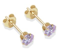Buy 9ct Gold 4mm Lilac Cubic Zirconia Stud Earrings at Argos.co.uk - Your Online Shop for Ladies' earrings, Ladies' jewellery, Jewellery and watches.