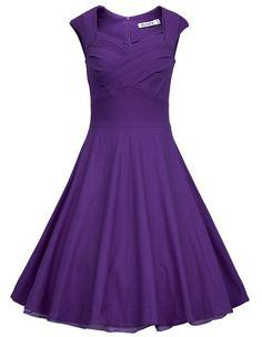 From Amazon $37 - MUXXN® Women 1950s Vintage Retro Capshoulder Party Swing Dress (M, Purple)