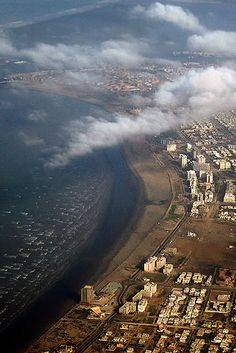 Aerial view of the coastline of Karachi, Pakistan. Karachi is the capital of the province of Sindh, as well as the largest and most populous metropolitan city of Pakistan. It is main port city of the country. It is the 2nd-largest city in the world by population. (V)
