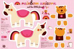 Rainbow unicorn and little tiger fabric by bora on Spoonflower - custom fabric