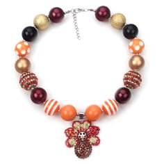2Pcs Thankgiving Turkey Pendant Chunky Necklace Black Orange Vintage Kids Bubblegum Beaded Necklace