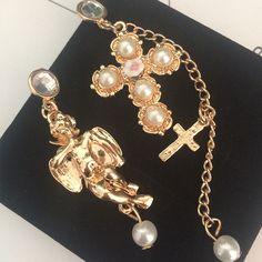 Baroque angel doll cross pearl Metal tassel pendant Asymmetry drop earrings for women Classic fashion design statement jewelry