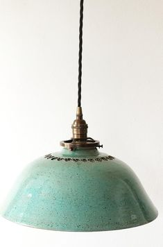 Beautiful Handcrafted Pottery Hanging Pendant Light in Sea Mist glaze Kitchen light Restaurant lighting Unique Lighting Lighting Light In, Lamp Light, Restaurant Lighting, Brewery Restaurant, Metal Canopy, Thrown Pottery, Hanging Pendants, Unique Lighting, Vintage Pendant Lighting