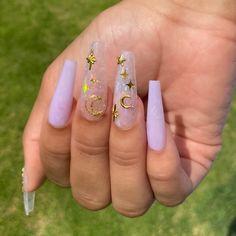 Acrylic Nails Coffin Pink, Summer Acrylic Nails, Coffin Nails Designs Summer, Milky Nails, Nagel Bling, Opal Nails, Moon Nails, Purple Nails, Cute Pink Nails