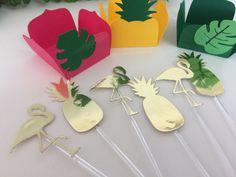 Festa Flamingo e Abacaxi - toppers dourado