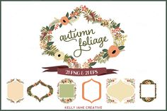 Autumn Flowers & Foliage Wreaths by Kelly Jane Creative on @creativemarket
