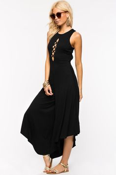 Sleeveless Women wide leg Lace Open Panel Dress