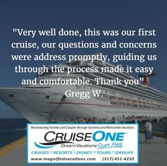 Client review and Testimonial of their experience with Magnified Vacations CruiseOne and our Vacation Planning Services.