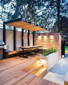 Do you need inspiration to make some DIY Outdoor Patio Design in your Home? Design aesthetic is a significant benefit to a pergola above a patio. There are several designs to select from and you may customize your patio based… Continue Reading → Design Exterior, Roof Design, Roof Terrace Design, Stucco Exterior, Deck With Pergola, Pergola Patio, Modern Pergola, Modern Deck, Metal Pergola