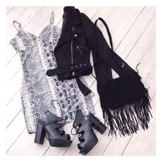 She's Thunderstorms Snake Dress, Jett Suede Biker and Olsen Tassel Bag. Shop @ Little-Lies.com #ootd