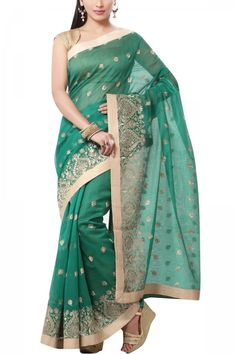 Green & Beige Embroidery Hand-loom Net Saree