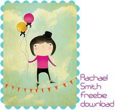 Fin illustration med ballonpige til bebses værelse. Kan downloades i høj opløsning som passer på et A4 print. Muy bien!