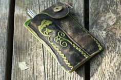 iPhone Sleeve  Krachlederne - recycled traditional Bavarian leather shorts $92