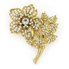 Gold-Tone pave Crystal Christie's Flower PinA limited edition  antique gold-toned brooch. The petite flower brooch is covered in sparkling crystals in a pav' style. Simply stunning!#vintagejewelry #fashionjewelry #costumejewelry #bridaljewelry #antiquejewelry