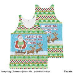 Funny Ugly Christmas Sweater | Santa Flashing Through the Snow All-Over Print Tank Top - Perfectly Tacky :) #zazzle