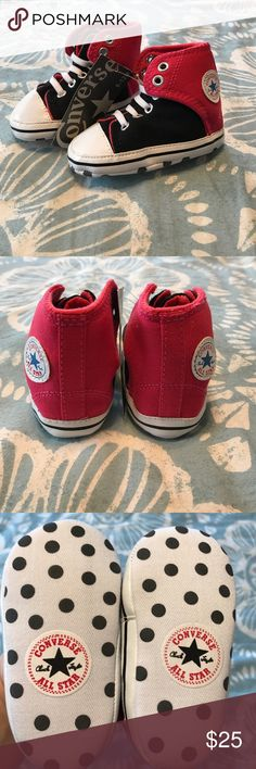 NWT Converse Chuck Taylor All Star Infant Shoes! Brand New with tags, Infant Girl's size 6-12 Months Converse Chuck Taylor All Star Infant Shoes! They are Super cute with a Pink/Red color and black and Polka dots on the bottom! From a Non-smoking, Pet-free home! Converse Shoes Baby & Walker