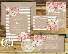 Printable Wedding Invitation Suite Floral by RubyRidgeStudios, $49.95
