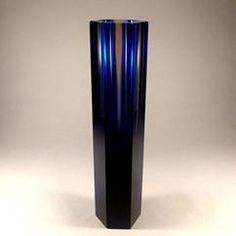 A Hexagonal Murano Sommerso Glass Vase