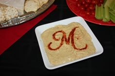 CRICUT: Use cricut to cut a stencil and then sprinkled paprika on my hummus.  Great for a bridal shower.  Used the Creative Memories Divine Wedding cartridge.