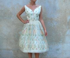 Vintage Neiman Marcus prom dress on etsy. 50s Dresses, Vintage Dresses, Formal Dresses, Tea Length Skirt, Vintage Prom, Pastel Floral, Lolita Fashion, Vintage Fashion, Vintage Style