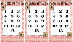 Article of Faith Punch Cards-also one for boys