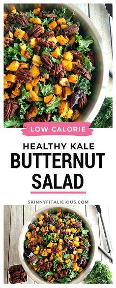 Kale Butternut Squash Salad is low calorie, healthy and gluten free! #kale #butternut #squash #salad #healthy #lowcalorie #glutenfree #Paleo Healthy Low Calorie Meals, Quick Vegetarian Meals, No Calorie Foods, Low Calorie Recipes, Healthy Food, Entree Recipes, Lunch Recipes, Salad Recipes, Pecan Recipes