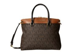 MICHAEL Michael Kors Aubrey Large Satchel Brown/Luggage - Zappos.com Free Shipping BOTH Ways