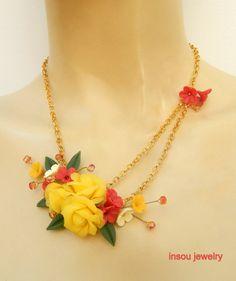 Flower jewelry  Rose jewelry  Romantic jewelry  by insoujewelry
