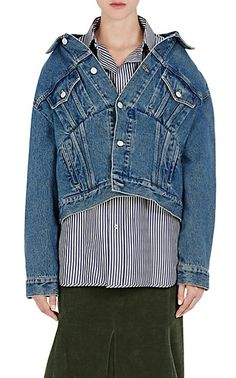 Balenciaga Off-The-Shoulder Denim Jacket - Jackets - 504730150