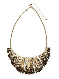 Hammered Statement Necklace by Hive & Honey $30