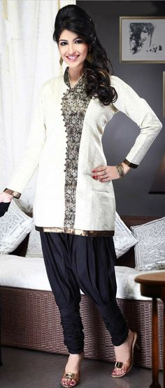 #Cream Chanderi #Cotton Jodhpuri Churidar Kameez @ $76.93