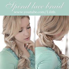 Spiral lace braid (carousel braid) hairstyle from hair tutorial https://www.youtube.com/watch?v=mlZ1GG6W-Ok