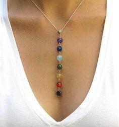 Collar de Chakra, colgante Chakra, Jewlery Chakra, joyería Yoga en piedras preciosas y plata de ley